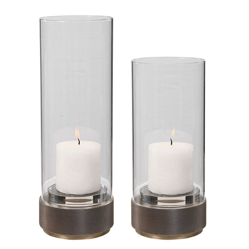 Uttermost Sandringham Brushed Brass Candleholders, Set of 2, Clear Glass - 17881