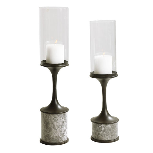 Uttermost Deane Marble Candleholders, Set of 2, Smoke Grey/White - 17882