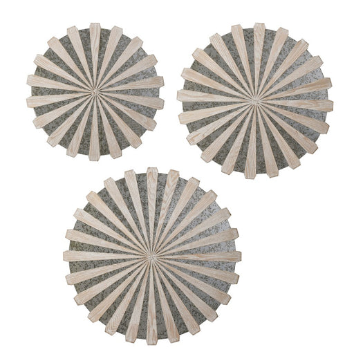 Uttermost Daisies Mirrored Circular Wall Decor, Set of 3, Ash Veneer - 4276