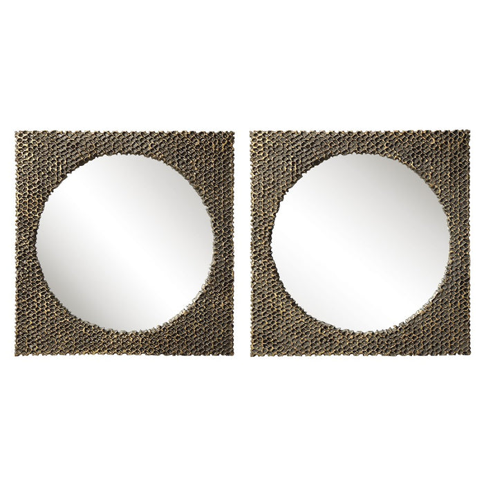 Uttermost The Hive Square Mirrors, Set of 2, Aged Gold - 9649