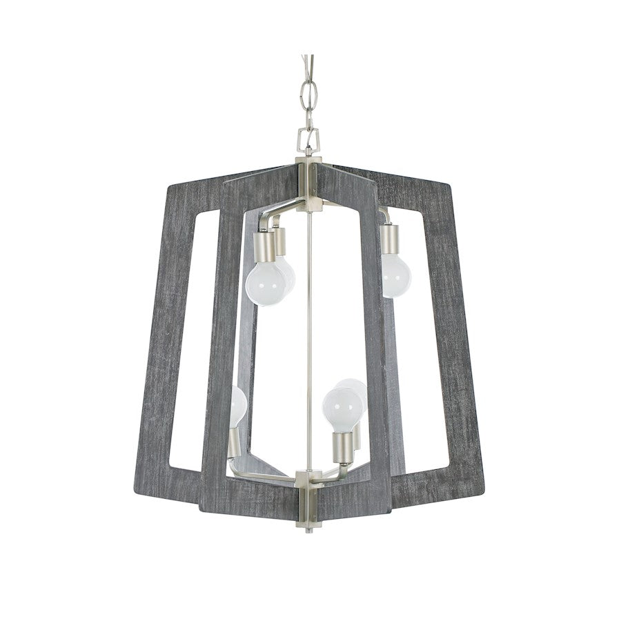 Varaluz Lofty 6-Light 2-Tier Foyer Chandelier, Silverado/Gray Wood - 268F06SOG