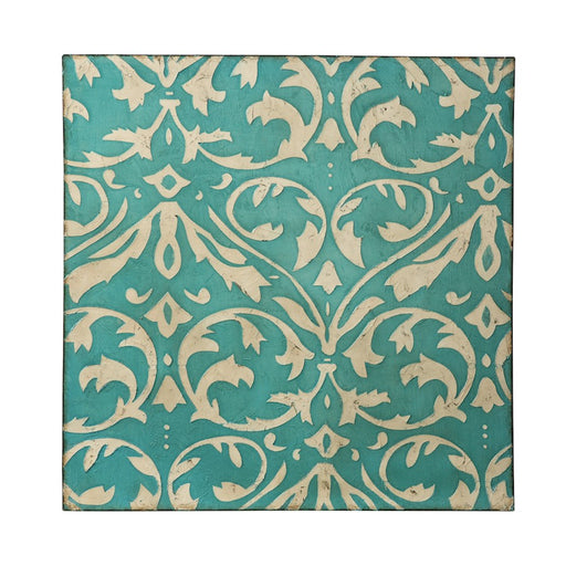 Varaluz Casa Teal Damask Trefoil Wall Art, Distressed Teal/Ivory