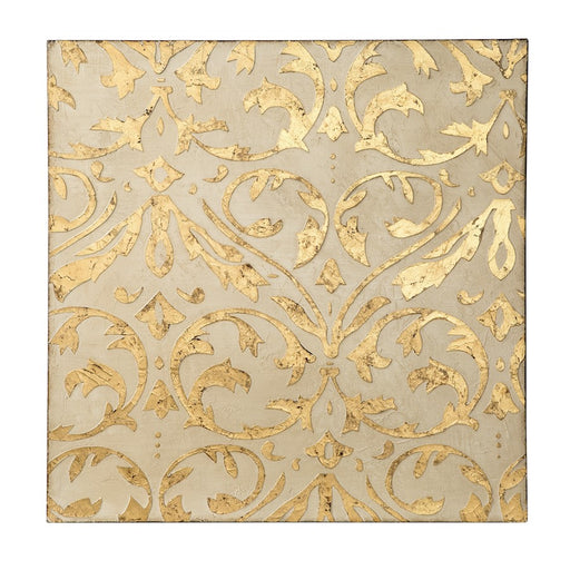 Varaluz Casa Gold Damask Trefoil Wall Art, Ivory/Gold