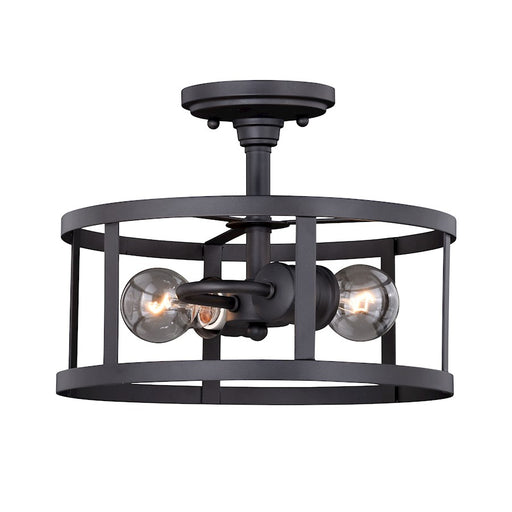 "Vaxcel Akron 2 Light 12"" Semi-Flush Mount, Oil Rubbed Bronze/Matte White"