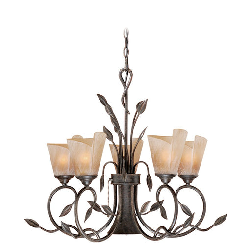 Vaxcel Capri Chandelier, Black Walnut/Excavation Glass