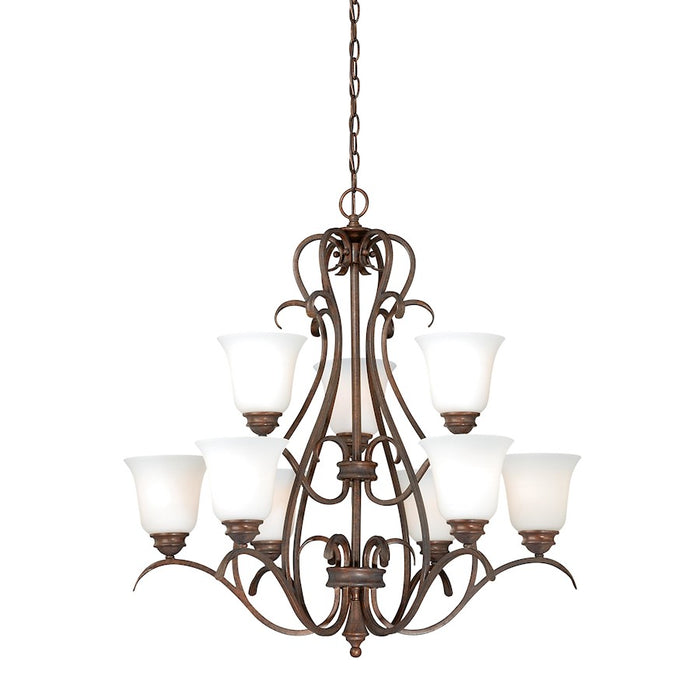 Vaxcel Hartford 9L Chandelier , Weathered Patina