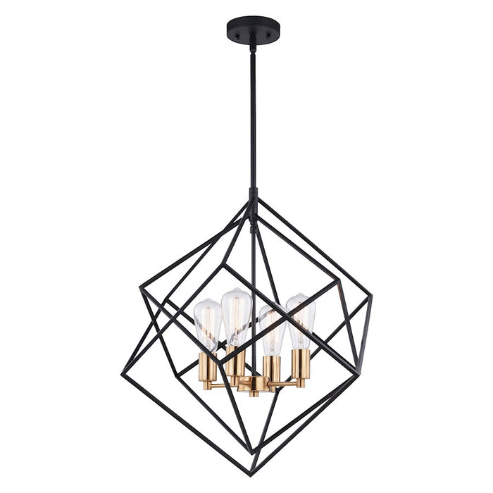 Vaxcel Rad 4 Light Pendant, Natural Brass, Black - P0307