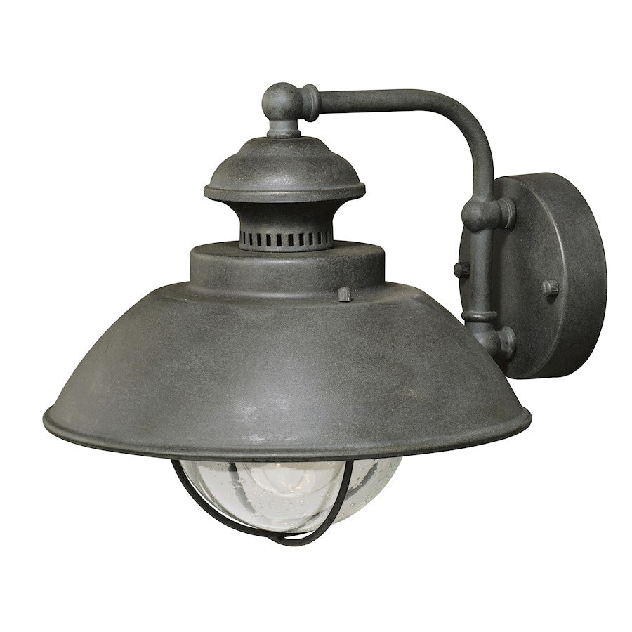 Vaxcel Harwich 1 Light Outdoor Wall Sconce, Gray/Seeded Glass
