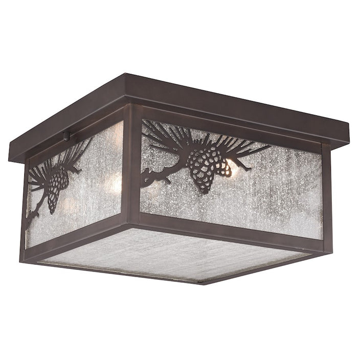"Vaxcel Whitebark 2 Light 11.5"" Outdoor Flush Mount, Bronze - T0516"