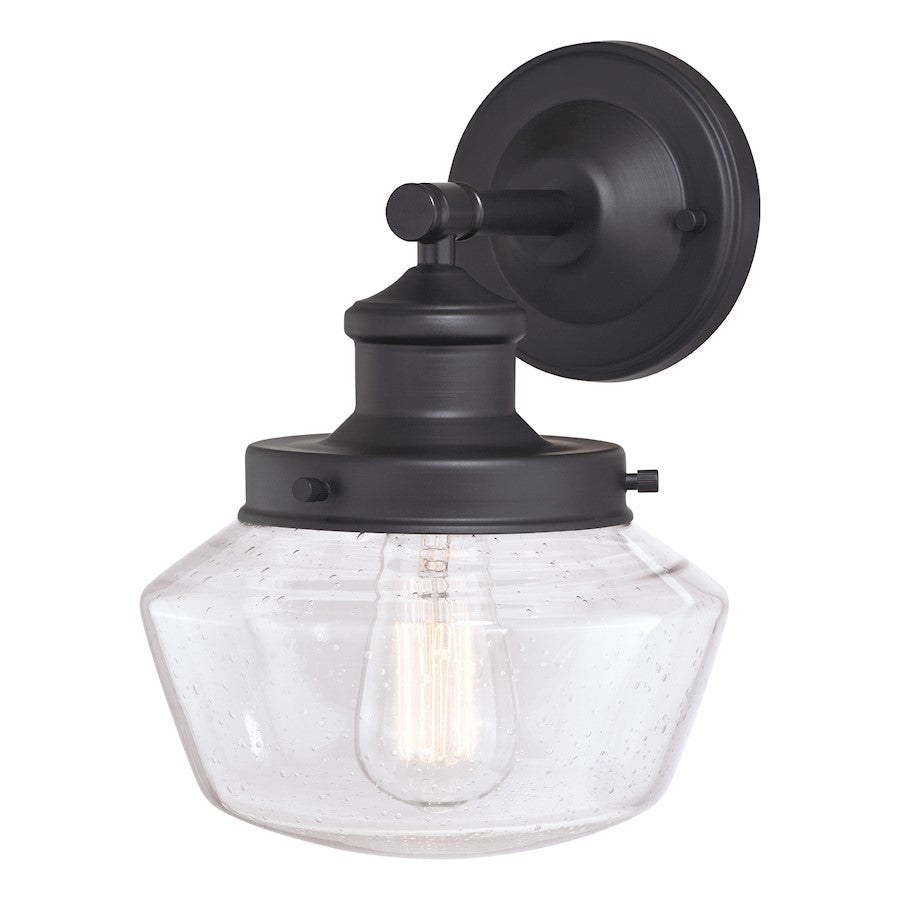 "Vaxcel Collins 1 Light 8"" Outdoor Wall Light, Black - T0545"