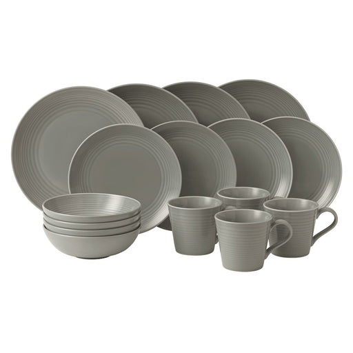 Gordon Ramsay by Royal Doulton Maze Dark Grey 16-Piece Set