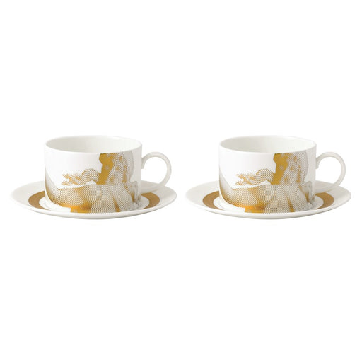 Wedgwood Gilded Muse Teacup and Saucer in Pair