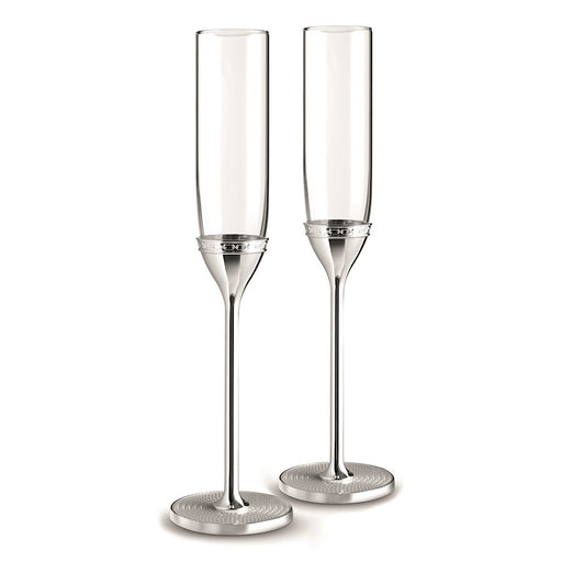 Vera Wang Wedgwood With Love Nouveau Silver Toasting Flute in Pair