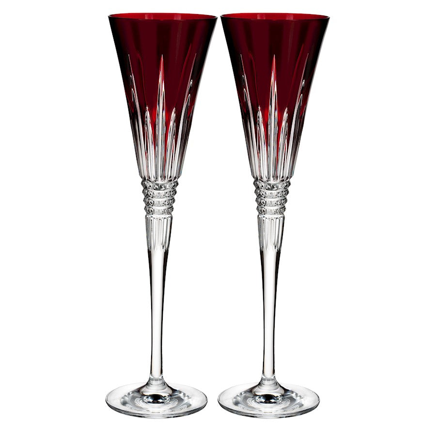 Waterford Lismore Diamond Red Toasting Flute in Pair