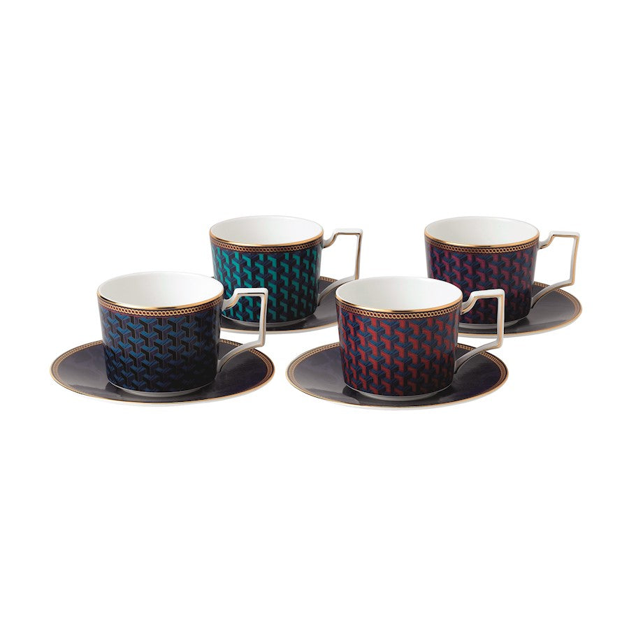 Wedgwood Byzance Accent Teacup and Saucer in Set of 4