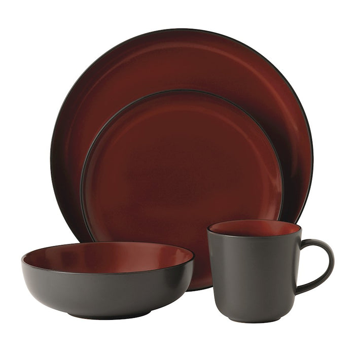 Gordon Ramsay by Royal Doulton Bread Street Dark Red 4-Pc Place Set