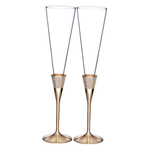 Waterford Lismore Diamond Gold Toasting Flute in Pair