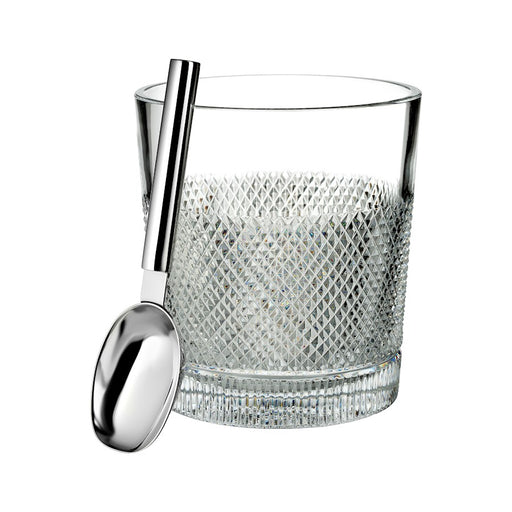 Waterford Crystal Diamond Line Ice Bucket With Scoop