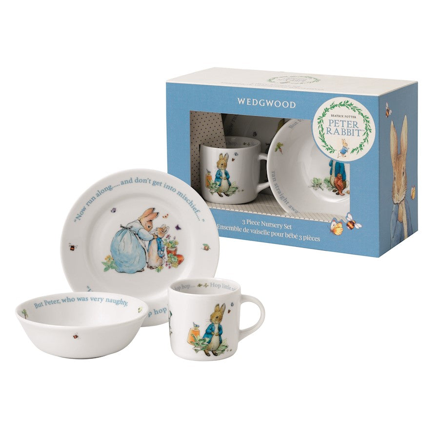 Wedgwood Peter Rabbit Boy's Plate in Bowl and Mug 3-Piece Set