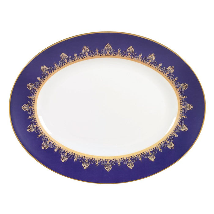 Wedgwood Anthemion Blue Oval Platter 13.75""