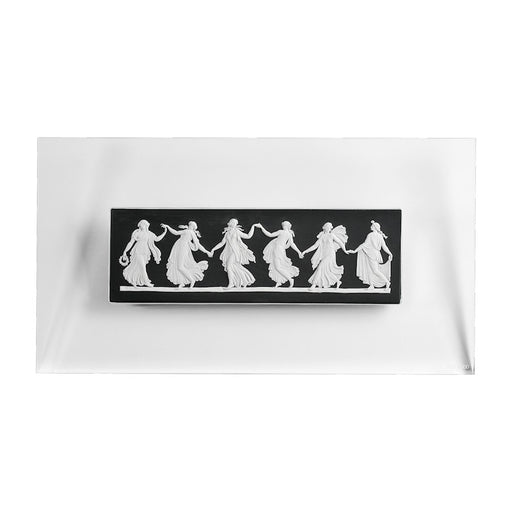 Wedgwood Jasperware Dancing Hours Plaque White On Black