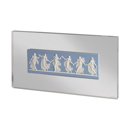 Wedgwood Jasperware Dancing Hours Plaque White On Pale Blue