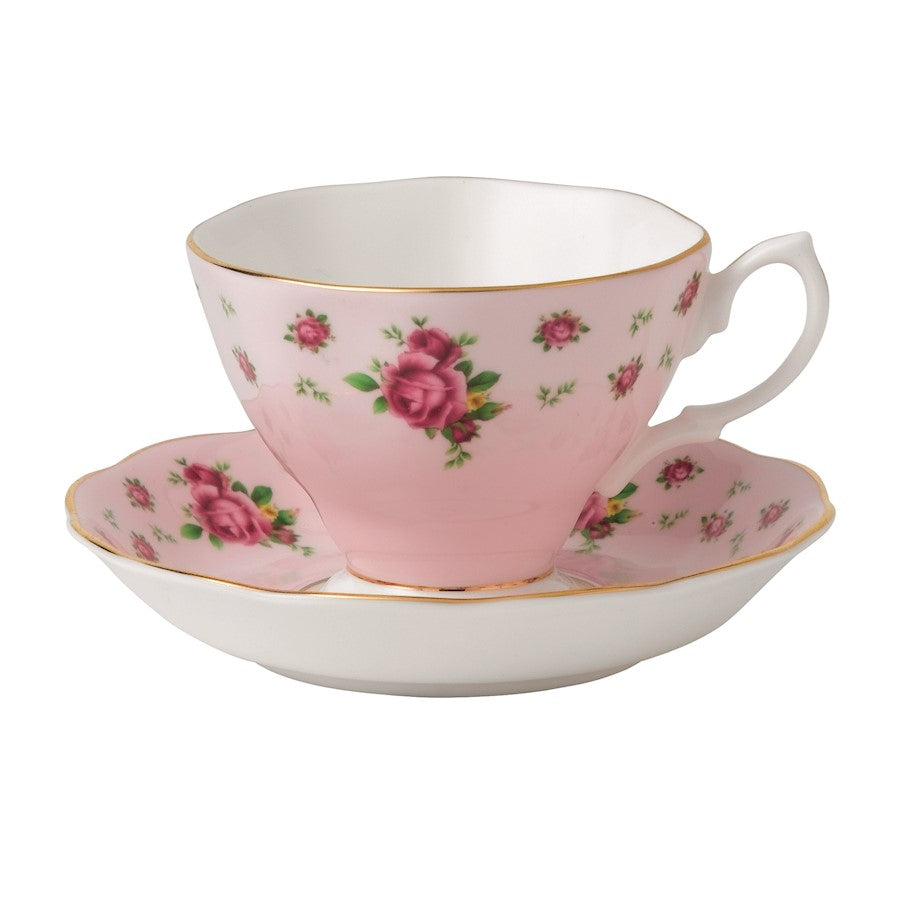 Royal Albert New Country Roses Pink Vintage Teacup and Saucer