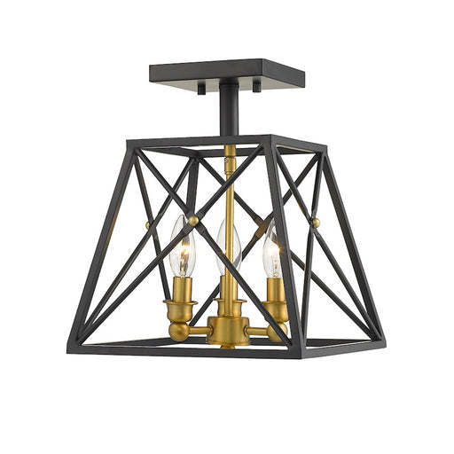 Z-Lite Trestle 3 Light Semi Flush Mount, Matte Black/Olde Brass