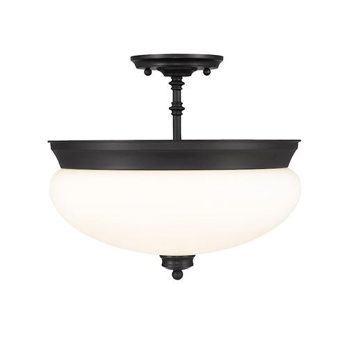 Z-Lite Amon 3 Light Semi Flush Mount, Matte Black/Opal