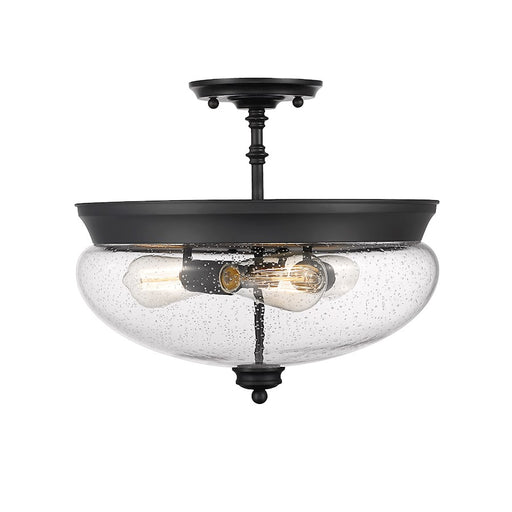 Z-Lite Amon 3 Light Semi Flush Mount, Matte Black/Seeded Glass