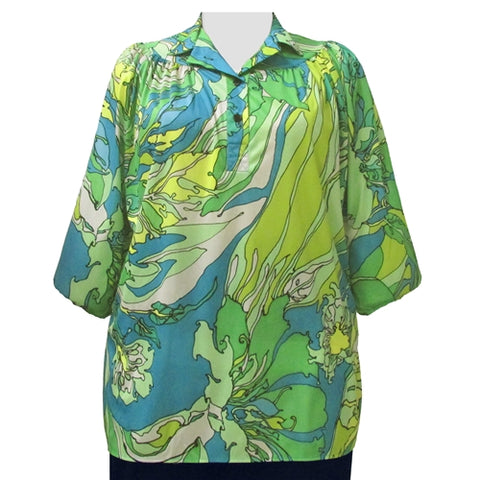 Abstract Flowers 3/4 Sleeve Pullover Women's Plus Size Top