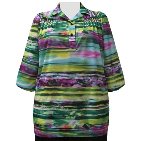 Dreamscape 3/4 Sleeve Pullover Women's Plus Size Top