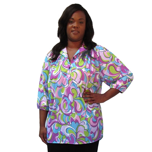 Geometric Medley 3/4 Sleeve Pullover Women's Plus Size Top