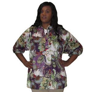 Grooving Paisley 3/4 Sleeve Pullover Women's Plus Size Top