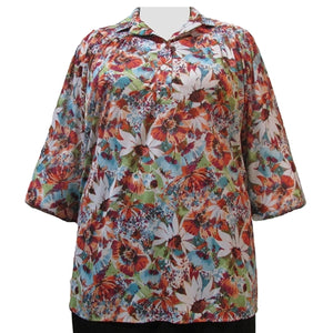 Jordan Floral 3/4 Sleeve Pullover Women's Plus Size Top