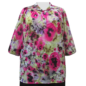 June Floral 3/4 Sleeve Pullover Women's Plus Size Top