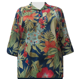 Multi Floral 3/4 Sleeve Pullover Women's Plus Size Top