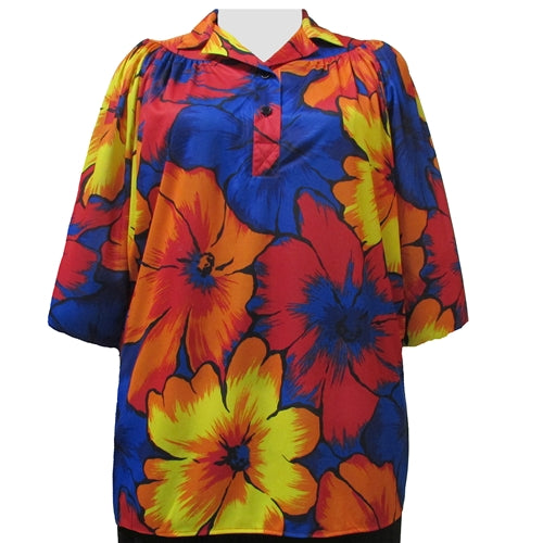 Oversize Floral 3/4 Sleeve Pullover Women's Plus Size Top