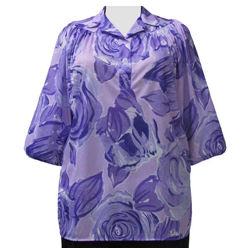Purple Rose 3/4 Sleeve Pullover Women's Plus Size Top