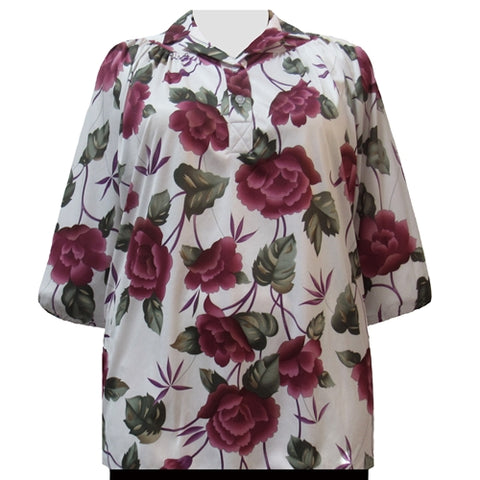 Rose Delight 3/4 Sleeve Pullover Women's Plus Size Top