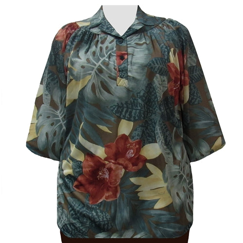 Sage Tropical 3/4 Sleeve Pullover Women's Plus Size Top