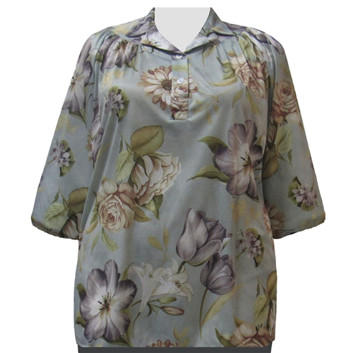 Tulips 3/4 Sleeve Pullover Women's Plus Size Top