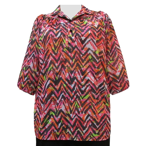Vibrant Zig Zag 3/4 Sleeve Pullover Women's Plus Size Top