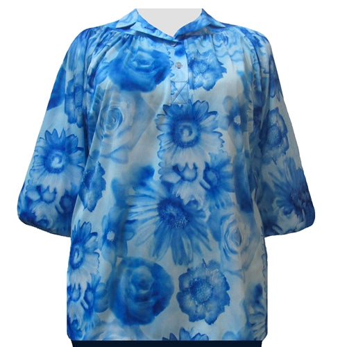 Watercolor Floral 3/4 Sleeve Pullover Women's Plus Size Top