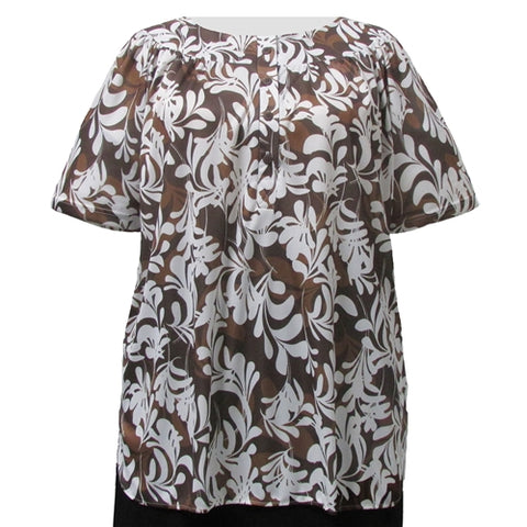 Ivory Ferns Round Neck Pullover Women's Plus Size Top