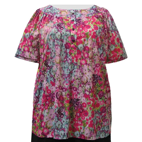 Pink Water Paint Floral Round Neck Pullover Women's Plus Size Top