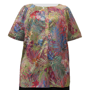 Tropical Delight Round Neck Pullover Women's Plus Size Top