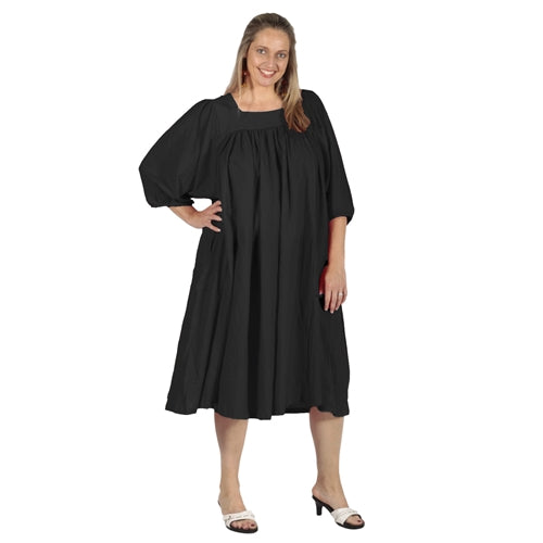 Black Cotton Gauze Float Dress Women's Plus Size Dress