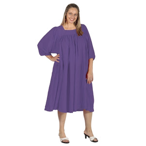 Purple Cotton Gauze Float Dress Women's Plus Size Dress