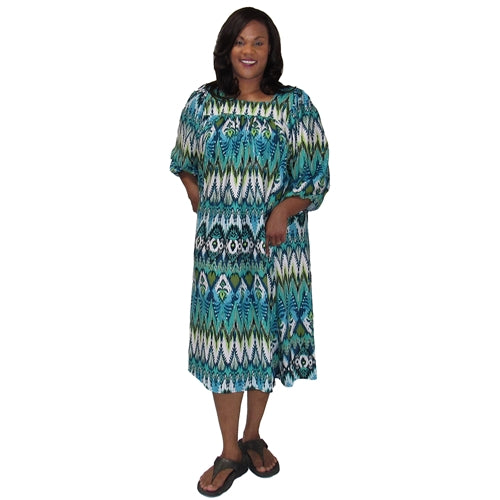Green Tribal Float Dress Women's Plus Size Dress